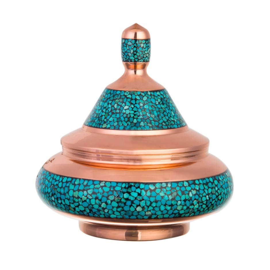 Turquoise Stone & Copper Sugar/Candy Pot - 21cm