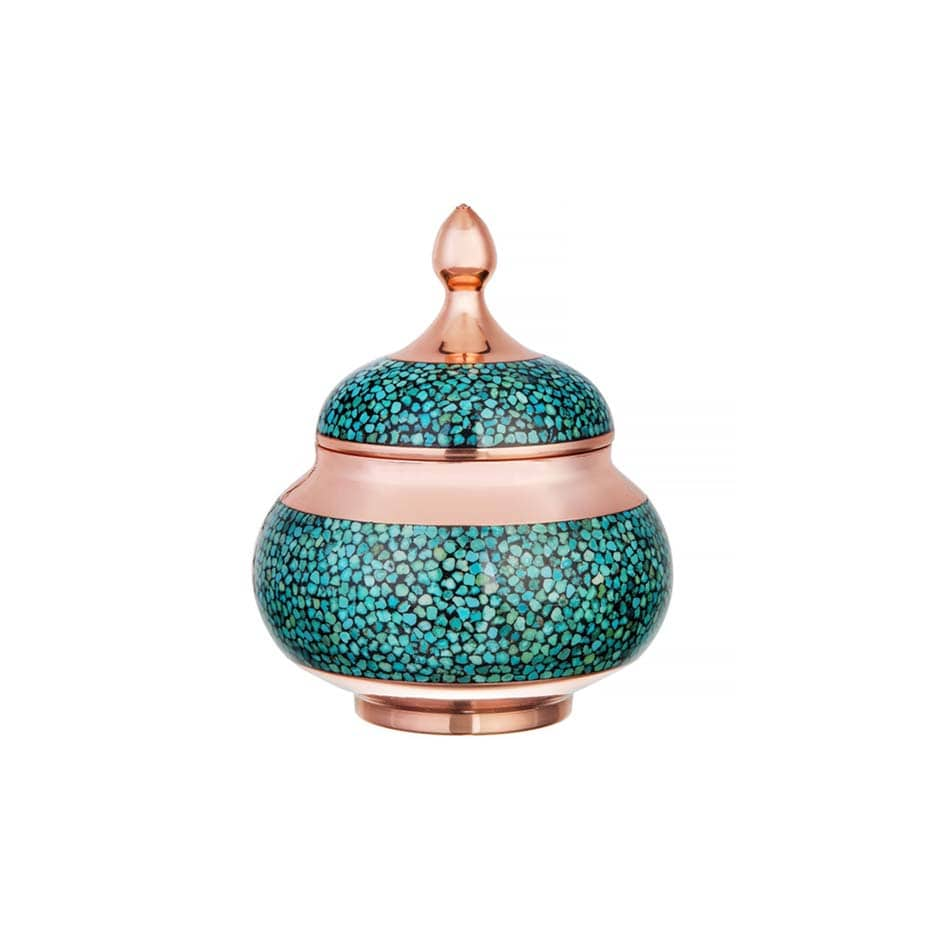 Turquoise Stone & Copper Sugar/Candy Pot - 10cm