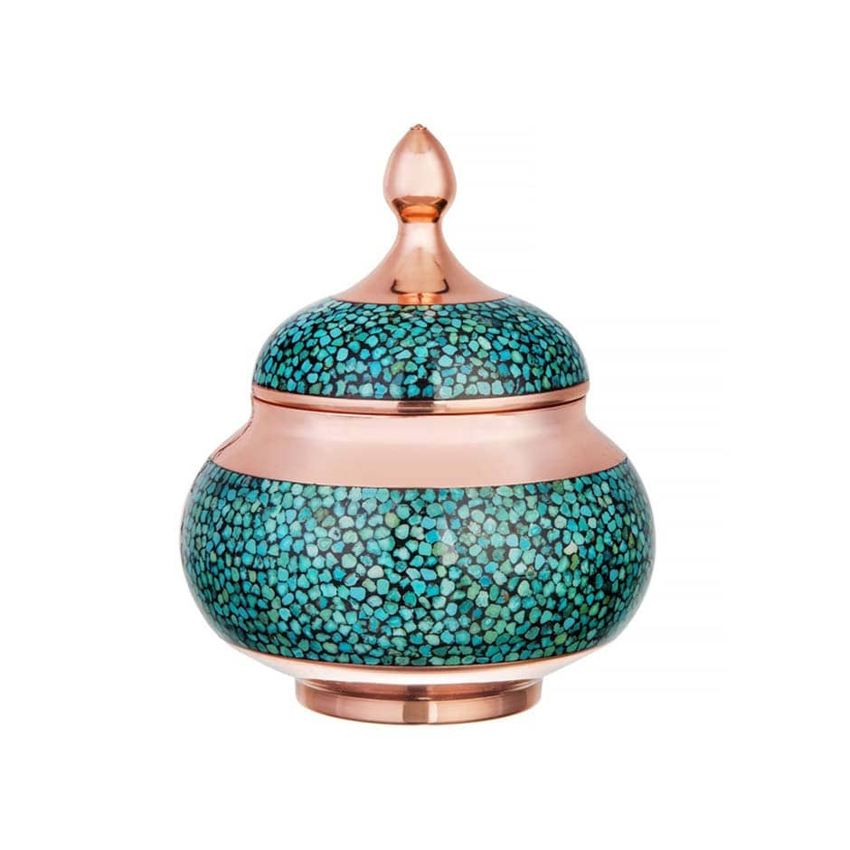 Turquoise Stone & Copper Sugar/Candy Pot - 11cm