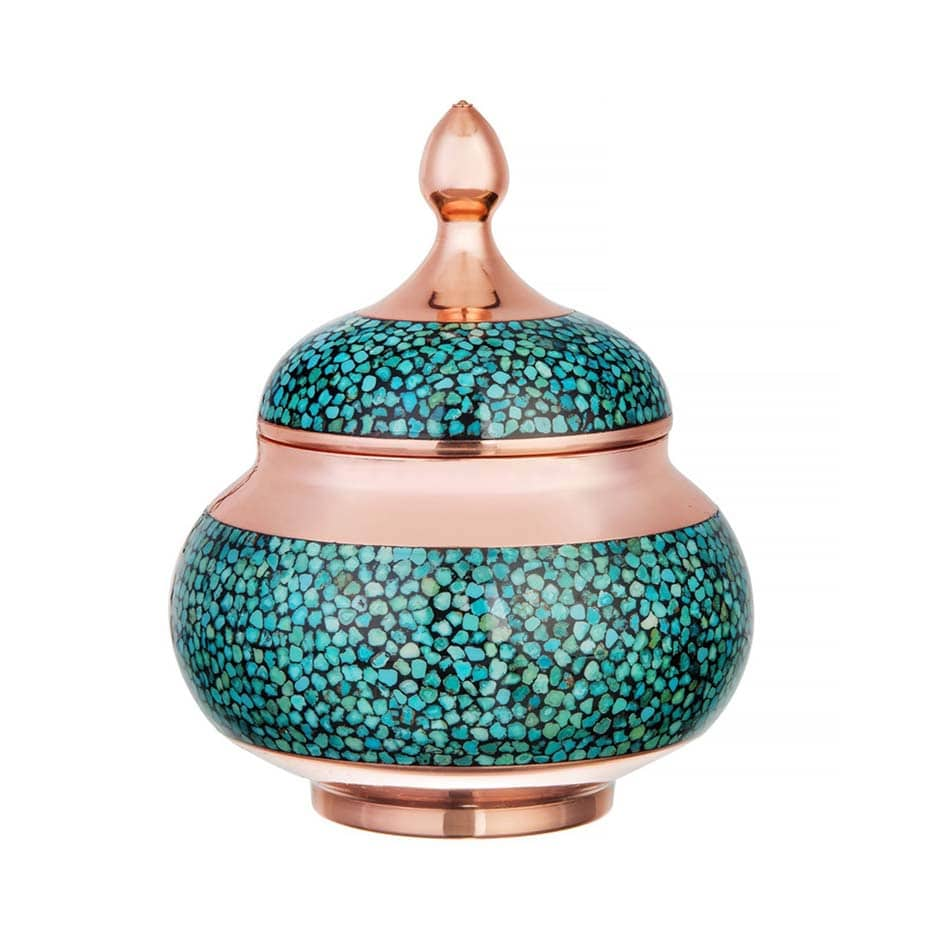 Turquoise Stone & Copper Sugar/Candy Pot - 13cm