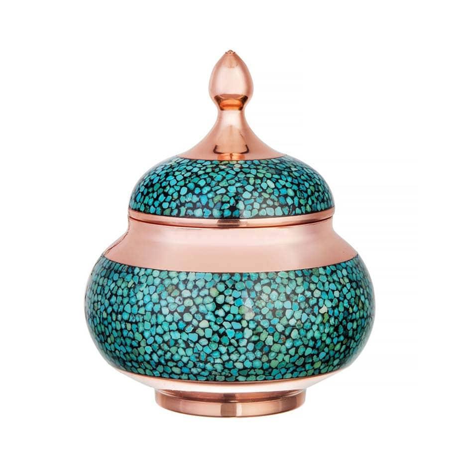 Turquoise Stone & Copper Sugar/Candy Pot - 13cm