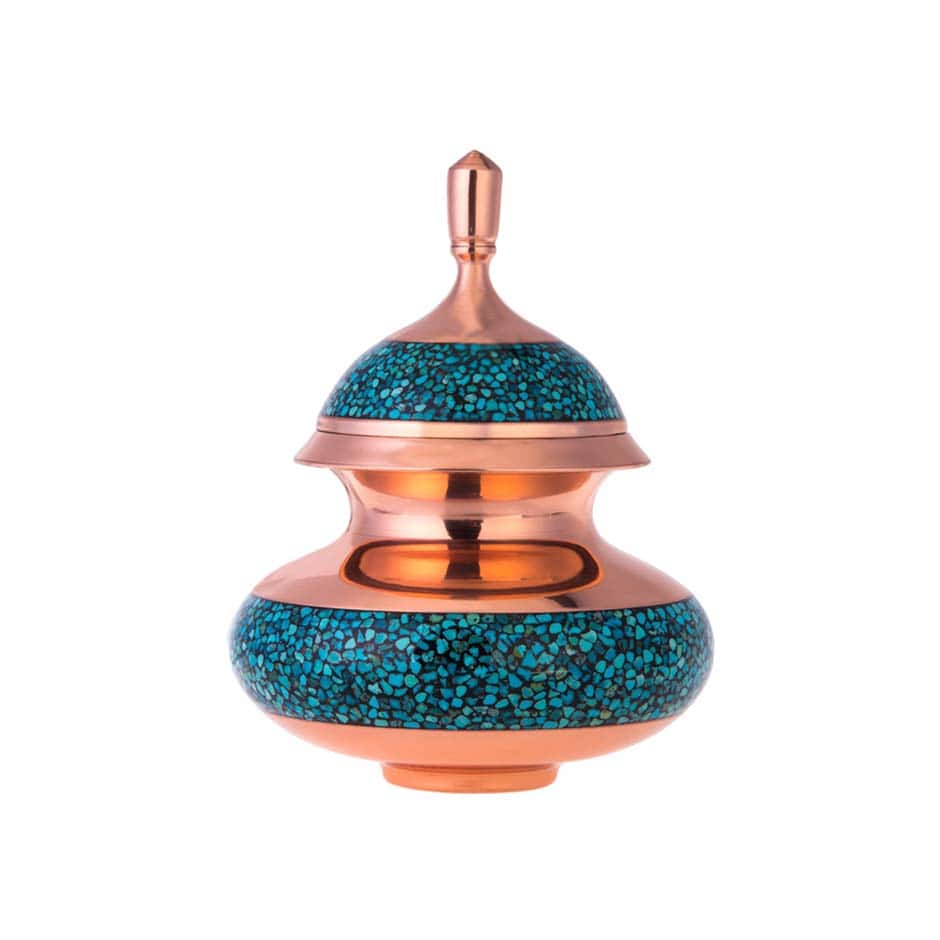 Turquoise Stone & Copper Sugar/Candy Pot - 17cm