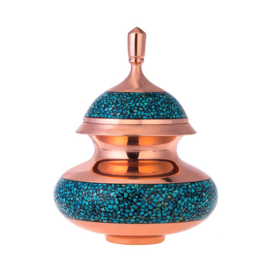 Turquoise Stone & Copper Sugar/Candy Pot - 19cm