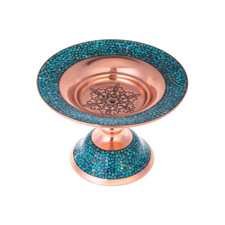 Turquoise Stone & Copper Cookie Compote Dish - 19cm