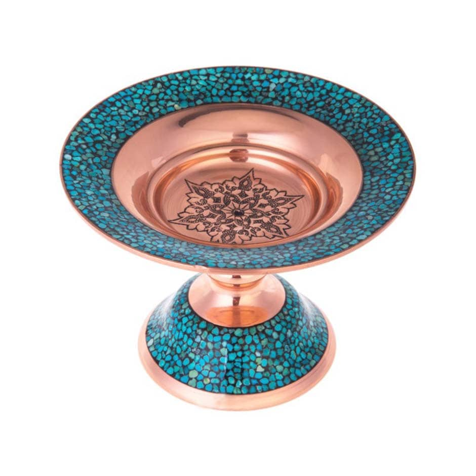 Turquoise Stone & Copper Cookie Compote Dish - 21cm