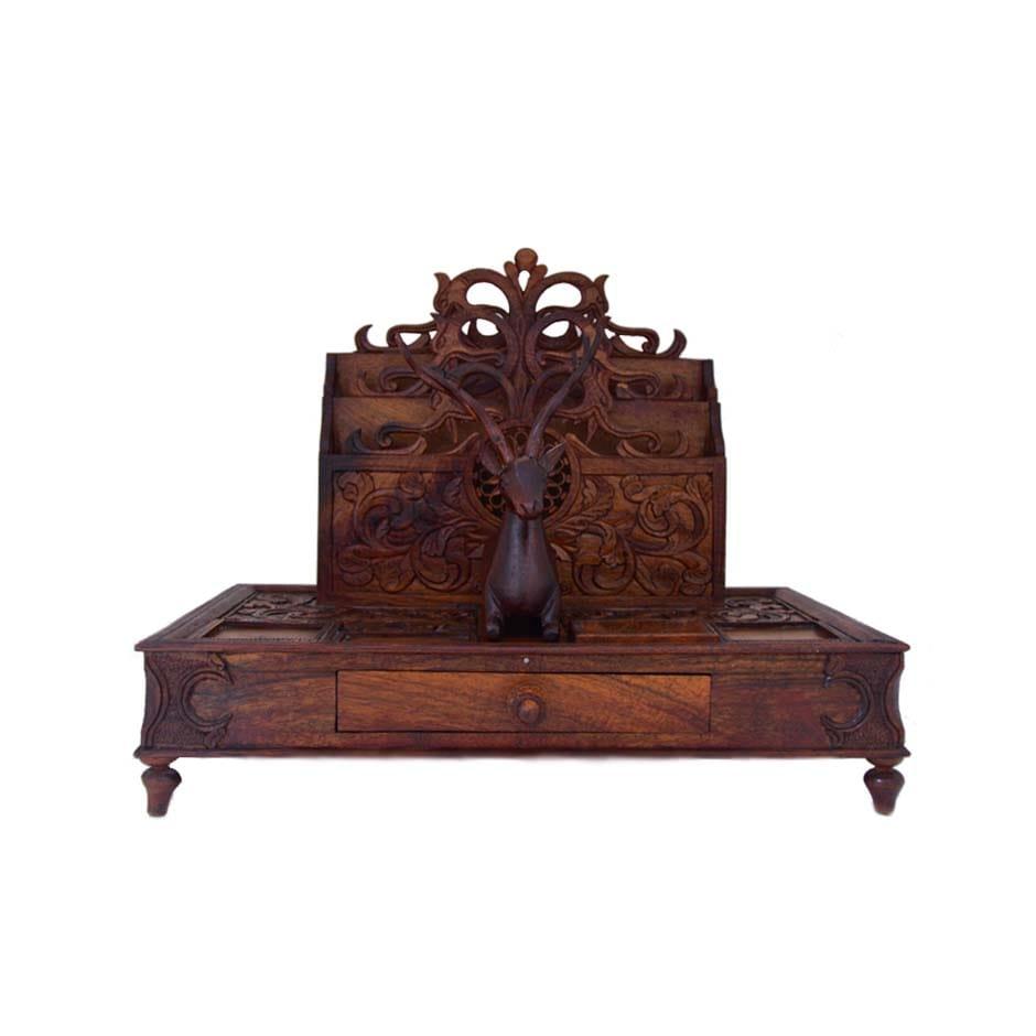 Antique Desk Organizer - Wood Carving