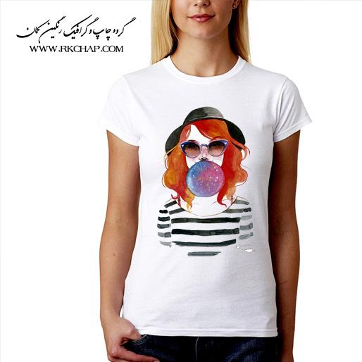 تیشرت سفید زنانه چاپی