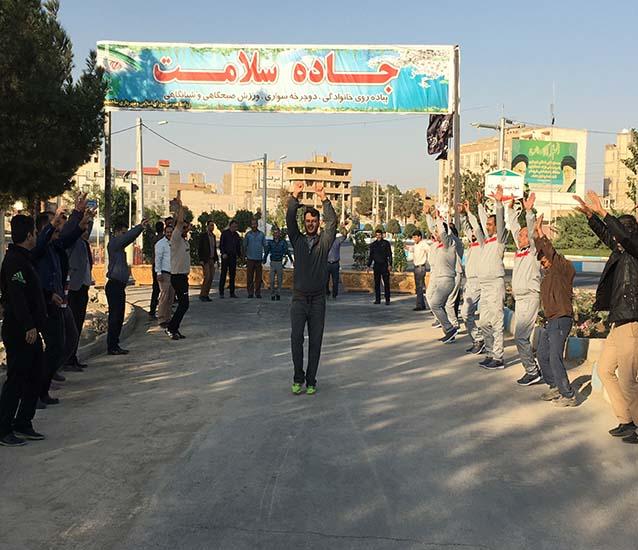 برگزاری ورزش صبحگاهی هفتگی پرسنل شهرداری در جاده سلامت شاهدشهر