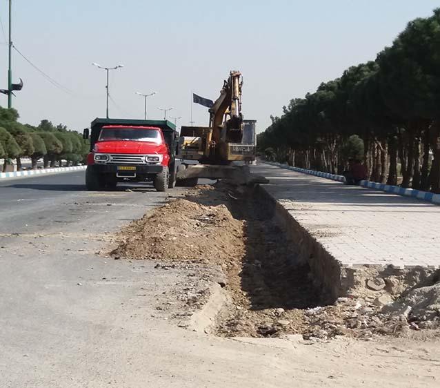 عملیات جدولگذاری لاین جنوبی بلوار شهداء شاهدشهر