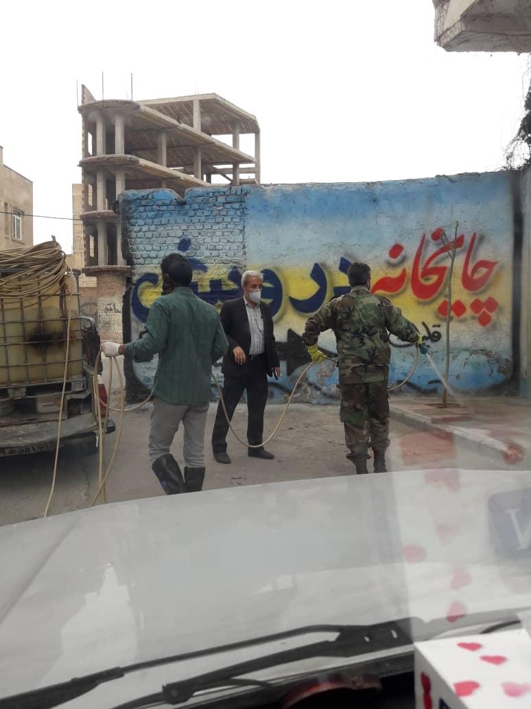 ضدعفونی کردن مستمر اماکن عمومی و معابر شهری شاهدشهر
