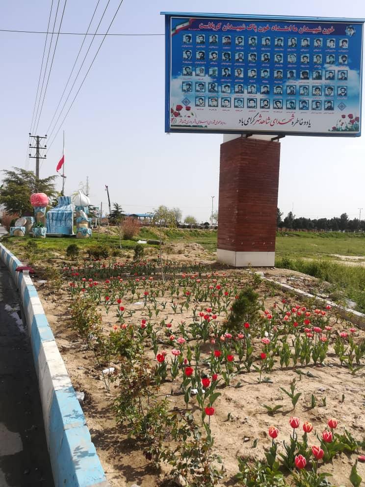 عملیات کاشت گل توسط واحد فضای سبز شهرداری