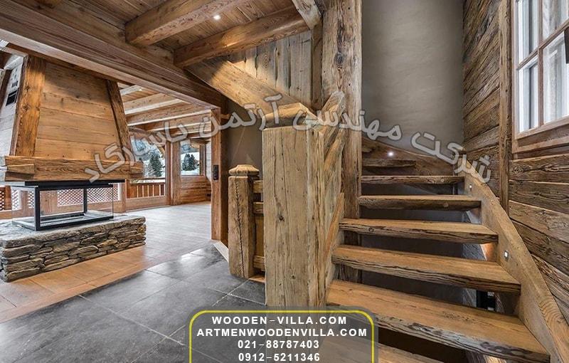 نمونه های فضاهای داخلی ویلا چوبی