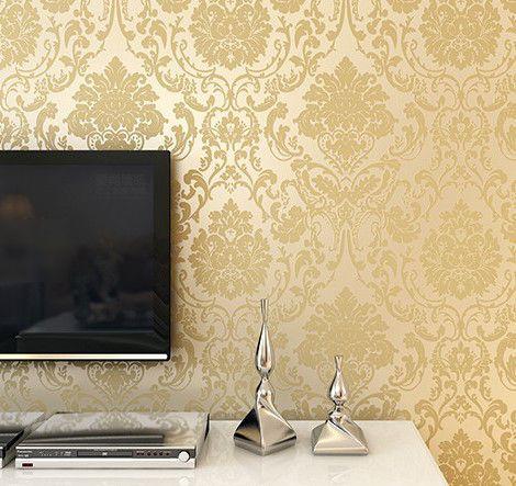 کاغذ دیواری داماسک طلایی
