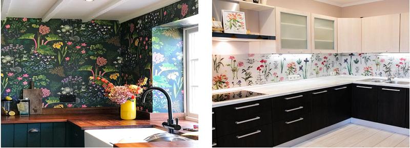 کاغذ دیواری آشپزخانه گلدار
