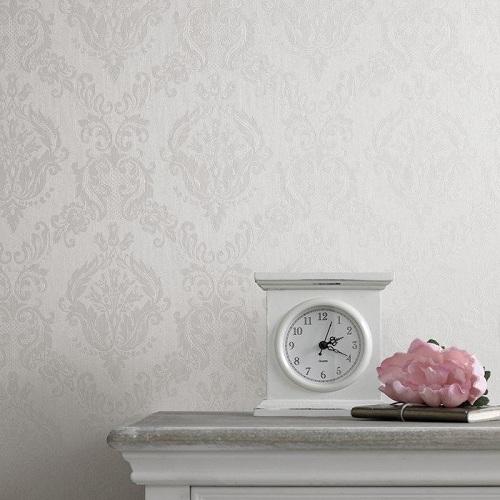 کاغذ دیواری داماسک سفید