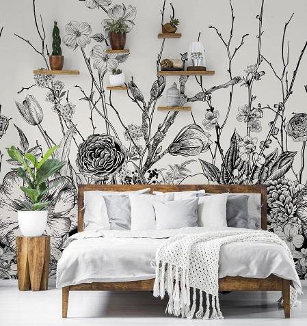 طرح سیاه و سفید کاغذ دیواری گرمسیری