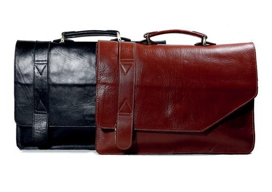 دو کیف اداری چرم در رنگ های مشکی و قهوه ای