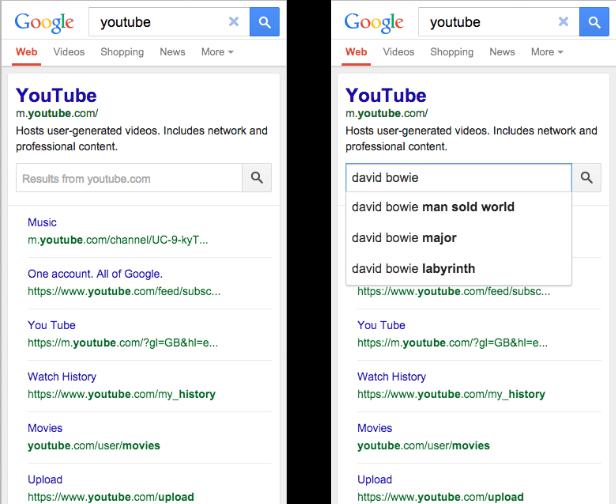 یک باکس جستجوی ارتقا یافته در دل نتایج جستجوی گوگل