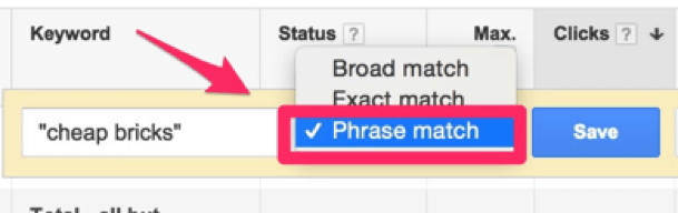 phrase match keyword